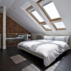 26 Luxury Loft Bedroom Ideas To Enhance Your Home is part of Loft bedroom Ideas - Featuring a range of loft bedroom ideas to suit any loft conversion, The LuxPad spoke to a number of interior design experts to help you maximise the space inside your home Attic Master Bedroom, Attic Bedroom Designs, Attic Design, Attic Rooms, Bedroom Loft, Bedroom Ideas, Attic Bathroom, Dormer Bedroom, Attic Playroom
