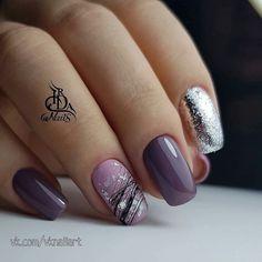Pin on manikjur Purple Nail Designs, Gel Nail Art Designs, Elegant Nails, Stylish Nails, Elegant Nail Designs, Nail Dipping Powder Colors, Pretty Nails, Cute Nails, Sassy Nails