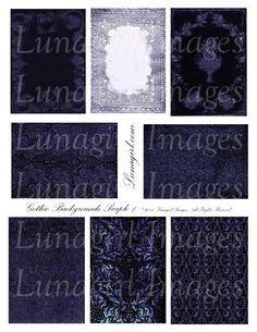 PURPLE GOTHIC Backgrounds Digital Collage Sheet, Atc vintage images Victorian frames, Dark spooky Steampunk ephemera printable DOWNLOAD by Lunagirl on Etsy