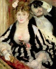 La Loge -  Pierre-Auguste Renoir, 1874 -Renoir captures the essence of the elite in this painting.  The Paris Opera House was the playground for the rich as they ostentatiously tried to out-flaunt each other with the most up-to-date fashion trends of the moment.  This woman is an excellent example of French Fashion in the 1870's.  Her long wrapping strands of #pearls was a traditional show of wealth, along with her #gold #bracelet worn over her fine silk gloves.