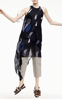 jewel neckline / keyhole in back  pleats / asymmetrical / abstract print + fringe on sandals