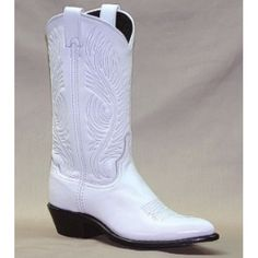 Abilene Ladies' Cowgirl Boots Garment Cowhide White J ToeVamp - Garment Cowhide Leather FootTop - 11� High MatchingToe Shape - �J� Narrow Pointed ToeHeel - Regular Cowboy 1 1/2�Insole - AirRide Comfort System InsoleOutsole - LeatherGoing to the Chapel and going to get Married! This is the best Wedding Boot ever. This Abilene boot is all leather and made in the USA! The air rid...