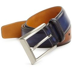 Saks Fifth Avenue COLLECTION Two Tone Burnished Leather Belt ($118) ❤ liked on Polyvore featuring men's fashion, men's accessories, men's belts, apparel & accessories, mens real leather belts, mens genuine leather belts, mens belts, mens leather accessories and mens leather belts