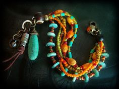 Glass, African Beads, Amazonite and Howlite Beaded Charm Bracelet
