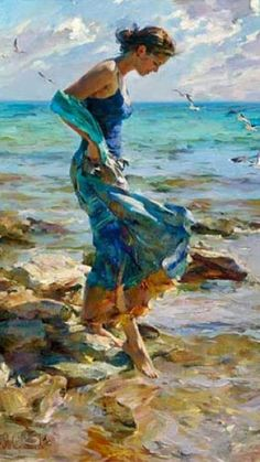 Allure Revisit a Garmash Original Painting available from J Watson Fine Art 661 your source for beautiful Michael and Inessa Garmash original paintings and limited edition artwork. Figure Painting, Oil Painting On Canvas, Painting & Drawing, Canvas Art, Diy Painting, Large Canvas, Painting Trees, Painting Classes, Blue Painting