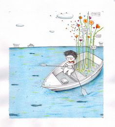 Immagine by Francesca Quatraro Naive Art, Small Boats, Inspiration For Kids, Illustrations Posters, Seaside, Illustrators, Illustration Art, Water, People