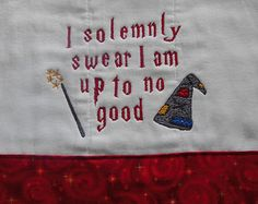 Harry Potter themed machine embroidered burp cloth