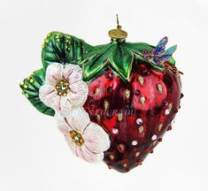 Jay Strongwater Extremely RARE Large Strawberry Glass Christmas Ornament New | eBay