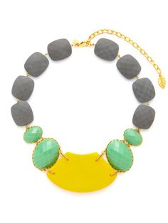 David Aubrey Oversized Yellow, Green, & Grey Multi Shape Necklace