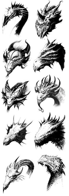 Dragon Heads by ScottPurdy | Create your own roleplaying game books w/ RPG Bard: www.rpgbard.com | Dungeons and Dragons Pathfinder RPG Warhammer 40k Fantasy Star Wars Exalted World of Darkness Dragon Age 13th Age Iron Kingdoms Fate Core Savage Worlds Shadowrun Call of Cthulhu Basic Role Playing Traveller Battletech The One Ring d20 Modern DND ADND PFRPG W40K WFRP COC BRP DCC TOR VTM GURPS science fiction sci-fi horror art creature monster character design