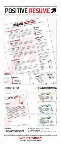 Positive Resume — InDesign INDD #layout #indesign • Available here → https://graphicriver.net/item/positive-resume/3766391?ref=pxcr