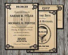 Steampunk Wedding Invitation Bundle Save The Date By Pegsprints