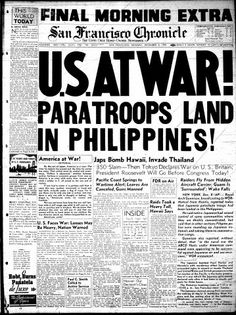Final morning edition from Dec 8, 1941, following the Japanese attack on Pearl Harbor, Hawaii during World War II.