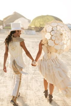 Bride and Groom have the actual ceremony at Burning Man