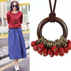 Cheap fashion statement necklace, Buy Quality statement necklace directly from China fashion necklace Suppliers: Fashion New statement necklace Necklaces Women Jewelry Wooden Beads collier collares necklace women kolye vintage maxi necklace Wooden Necklace, Leather Necklace, Necklace Price, Necklace Types, Pearl Necklace, Pendant Necklace, Fabric Jewelry, Hanging Earrings, Wooden Beads