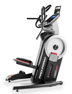 """ProForm Cardiohiit Elliptical Trainer. IPod compatible audio, 7"""" backlit display, 32 workout apps, 24 resistance levels, 5"""" elliptical stepping path with 10"""" vertical. Integrated tablet holder, EKG grip pulse heart rate monitor, integrated in-handle controls, commercial-grade steel construction. Multi-function handlebars, Coola ire workout fan, Inertia-Enhanced flywheel, oversized cushioned pedals. Water bottle holder, Transport wheels, leveling feet, 350 lb. Weight capacity. The Preforms..."""