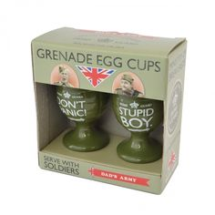 Dads army 2 piece stupid boy & dont panic grenade egg cup set