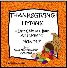 """*** $5.00 ***  The following songs are included: •Come, Ye Thankful People, Come •Let Us Break Bread Together •We Gather Together  This product includes the following materials: •Musical arrangement used for this piece •Individual printable sheets for each assigned chime or bell (G4-E6)  Age Appropriate for: •Upper elementary •Middle School •High School •Adult  This product uses a """"non-music reading"""" approach."""