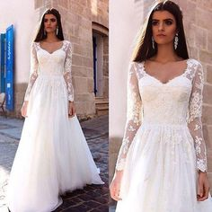 Elegant Lace Appliques Wedding Dress 2017 Sexy V-Neck Sheer Long Sleeve Vestido De Noiva Customize Tulle A-Line Bridal Gowns