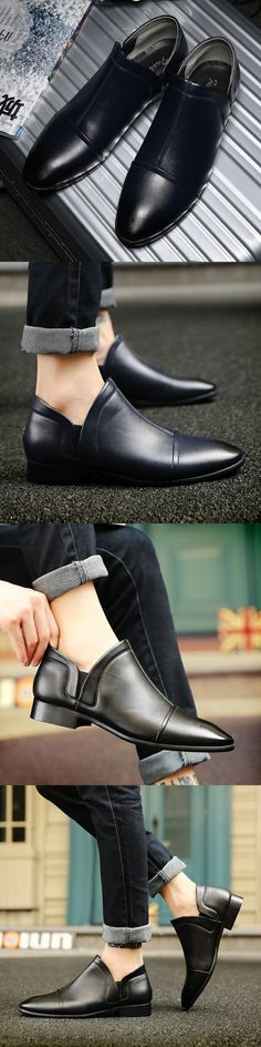 US $24 Urban Brand Elegant Male Classic Shoes Slip On Party Dress Shoes Leather Vintage Business Shoes Formal Pointed Shining Toe Flats