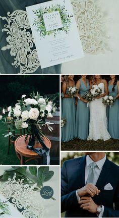 Organic greenery wedding inviation for an elegant blue wedding #EWI #greenery