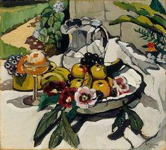 'Still life with fruit' (1926) by Australian artist Margaret Preston (1875-1963). Oil on canvas, 50.8 x 56.0 cm. via  Art Gallery NSW