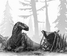An adventures rests with his Iguanodon