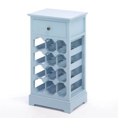 Somerset Blue Wine Cabinet What a noble way to store your favorite wine! This lovely storage cabinet features a pullout drawer at top and seats 12 bottles of vino below. The calming shade of blue will showcase your great taste in decor and wine! Blue Storage Cabinets, Blue Cabinets, Wood Cabinets, Cabinet Storage, Cabinet Space, Wooden Wine Cabinet, Wine Bar Cabinet, Wine Shelves, Wine Storage