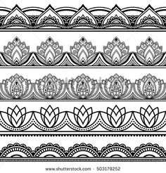 Vector henna seamless borders set. Mehndi style. Set of ornamental patterns in the oriental style.