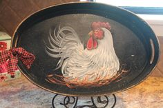 Rooster Hand Painted Wood Oval Tray....Chicken  by CraftsByJoyice