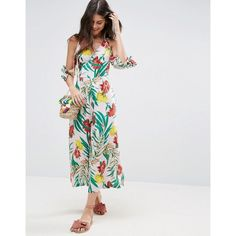 ASOS Cold Shoulder Jumpsuit in Tropical Print (2.990 RUB) via Polyvore featuring jumpsuits, multi, party jumpsuits, going out jumpsuits, tropical print jumpsuit, prom jumpsuit и asos