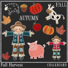 CHALKBOARD FALL from Digital PaperCraft on TeachersNotebook.com -  (14 pages)  - CHALKBOARD CLIP ART OF FALL