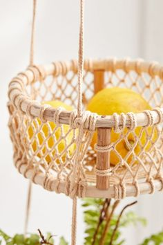 Shop Three Tier Hanging Basket at Urban Outfitters today. We carry all the latest styles, colors and brands for you to choose from right here. Hanging Fruit Baskets, Wicker Baskets, Macrame Projects, Diy Projects, Boho Diy, Bohemian, Diy Hanging, Macrame Patterns, Urban Outfitters