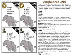 Jungle UNO- Articulation.  Visit pinterest.com/arktherapeutic for more #speechtherapy games and activity ideas