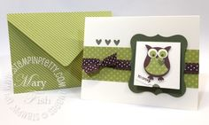 Stampin up simply scored diagonal plate st patricks day card idea owl punch
