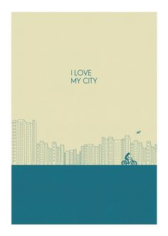 """I Love My City"" Skyline & Bicycle #Print $25.00"