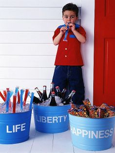 4th of July buckets. Life, liberty & happiness = otter pops, coca cola & beer!
