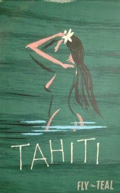 Tahiti, FLY TEAL Travel poster #beach #essenzadiriviera.com