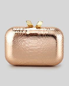 Kotur $350  Margo+Snake-Embossed+Minaudiere%2C+Rose+Gold+by+Kotur+at+Neiman+Marcus.