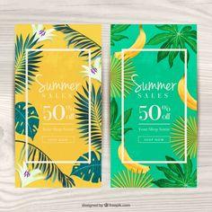 Vouchers para o verão com tema tropical Vetor grátis