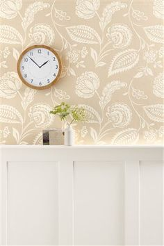 Buy Surface Floral Natural Wallpaper from the Next UK online shop