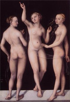 Page: The Three Graces  Artist: Lucas Cranach the Elder  Completion Date: 1535  Place of Creation: Germany  Style: Northern Renaissance
