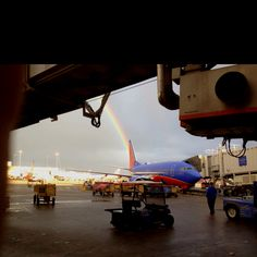 Rainbow over Southwest Airlines jet at Phoenix