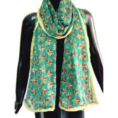 Dark Green georgette dupatta/stole with phulkari work. Size: 90 in x 35 inches $16