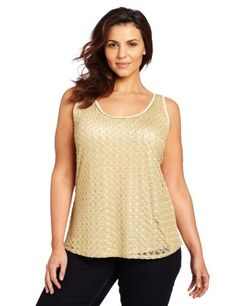 Lucky Brand Women's Plus-Size Guilded Lace Tank, Creme Brulee, 3