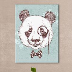 Tableau d'une adorable illustration d'un panda au style dandy qui porte le noeud papillon comme personne. Appartient à la collection des tableaux d'animaux humanisés.