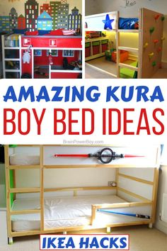 Kura Bed IKEA hacks for boys' rooms that are super cool! , Great ideas for boy's room beds with the IKEA KURA bunk bed. Fire truck bed, Star Wars bed, castle bed and more that your boys will love …. Ikea Bunk Bed Hack, Ikea Kids Bed, Ikea Boys Bedroom, Kura Ikea, Murphy-bett Ikea, Bunk Beds For Boys Room, Kid Beds, Boy Room, Bed Ikea
