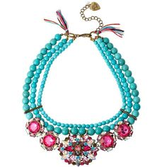Women's Betsey Johnson Mixed Faceted Semiprecious Necklace Turquoise/Pink featuring polyvore, fashion, jewelry, necklaces, pink jewelry, turquoise necklace, betsey johnson jewelry, multi colored necklace and semi precious stone jewelry