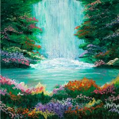 The Waterfall Acrylic Painting from parimastudio - Hunters Alley