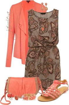 """""""Paisley Dress & Flat Sandals"""" by jaimie-a on Polyvore"""